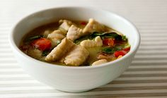 A recipe for Thai green curry made with fish. Any firm fish will work with this recipe, but I recommend halibut, sturgeon, tilefish, redfish or swordfish. Easy Fish Recipes, Seafood Recipes, Asian Recipes, Healthy Recipes, Ethnic Recipes, Cooking Recipes, Thai Green Curry Recipes, Fish Varieties, How To Cook Fish