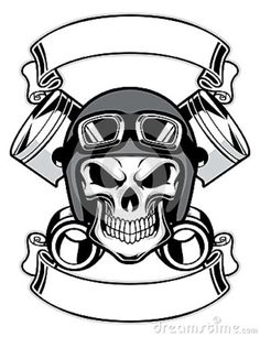 Skull Wearing Retro Motorbike Helmet Tattoo Design Photo - 1