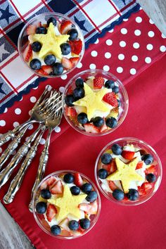 4th of July Berry Trifles with star-shaped pound cake via Recipe Girl