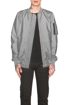 c86ed2d4227 Image 1 of DRKSHDW by Rick Owens Reflective Flight Jacket in Silver Rick  Owens