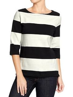 Womens Boat-Neck Jersey Tops...black and white oh yeah! Silk Pajamas, Silk Pjs, Silk Sleepwear, Old Navy Women, Pajama Shirt, Boat Neck Tops, Navy Stripes, Jersey Tops, Round Ray Bans