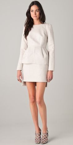 Dreamy Ellery dress with peplum skirt. Has a vintage leaving-the-wedding feel which I love.