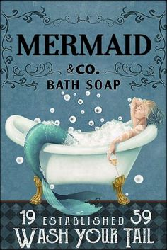 Vintage Advertisements, Vintage Ads, Vintage Posters, Vintage Mermaid, Mermaid Art, Mermaid Poster, Mermaids And Mermen, Bath Soap, Whimsical Art