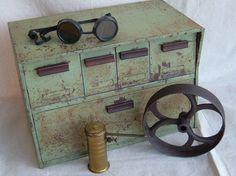 Vintage Speko Enamel Tin  Industrial Drawer Organizer Grease Monkey Style