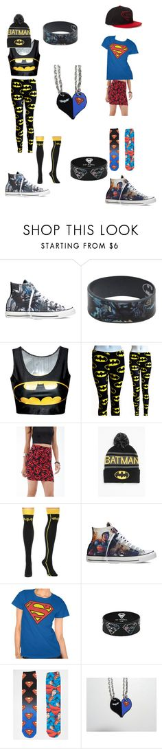"""""""BFF Superhero Set"""" by eb0nyl0v3 ❤ liked on Polyvore featuring Converse, Hot Topic, Forever 21 and ASOS"""