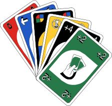 """Get a set of UNO cards and lay three of them face down on the table and then give a clue to the scripture. The first team to be turned to the  scripture picks which card of the three I laid out. The team gets the value of  the card.  If the card is a """"Skip"""" or  """"Draw Two""""  then  they can either take 5 points or pick on of the other cards.  A """"wild"""" is worth 10  points. If they get """"reverse"""" the teams trade points."""