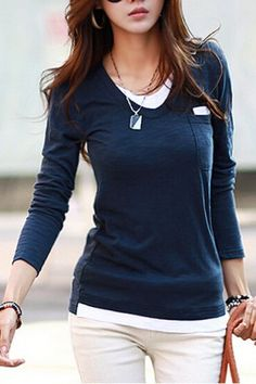Many more like this can be found at the website! Give it a look for what we pick best for each category!Casual Scoop Neck Color Block Faux Twinset Long Sleeve Women T-Shirt Ladies Shirts Formal, T Shirts For Women, Clothes For Women, Casual Skirt Outfits, Business Casual Outfits, Casual Tops For Women, Casual Chic, Casual Jeans, Bollywood Fashion