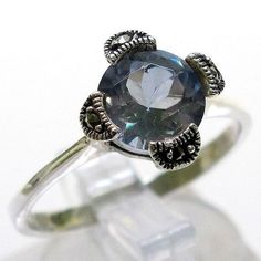 One of  a kind design~Marcasite blue topaz in Sterling Silver 925