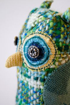 Handmade Fabric Bird Owl / Blue and Green by BlueTerracotta, €40.00