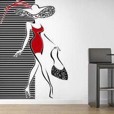 Vinilos Decorativos Paredes de Moda Boutique Decor, Boutique Interior, Shoe Store Design, Beauty Salon Interior, Mural Painting, Wall Wallpaper, Wall Design, Wall Stickers, Wall Murals