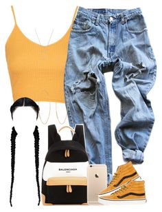 """☀️"" by livelifefreelyy ❤ liked on Polyvore featuring Topshop, Levi's, Balenciaga, Vans, Lana and Gucci"