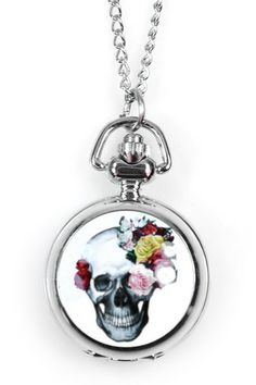 Rose Skull Pocket Watch Pendant Necklace by Eye Candy Los Angeles on @HauteLook