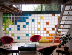 Colourful glass bricks. I could probably convince Nick to recreate this room some day, as long as we kept the papasan chairs!