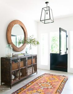 console table and rug