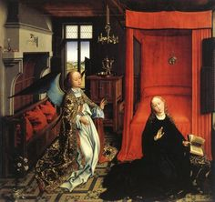 Rogier van der Weyden 1399/1400 – 1464, The Annunciation, ca. 1440. Central panal of a triptych, believed to have been made in Van der Weyden's workshope, by not by himself.