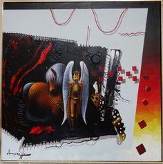 """AMORELLI (1948 - Três Corações - MG) - Acrílico sobre tela, 50 cm x 50 cm - """"O Guardião"""", da"""
