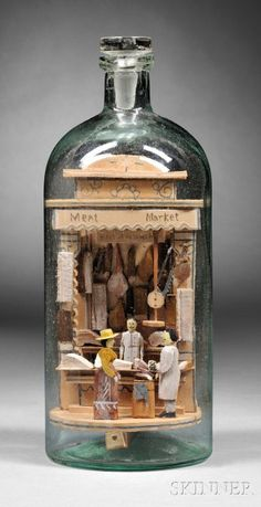 "diorama ideas Carl Worner Diorama Whimsy Bottle of a ""Meat Market,"" Ship In Bottle, Bottle Art, Bottle Shop, Glass Bottle, Vitrine Miniature, Miniature Rooms, Arte Assemblage, Minis, Art Sculpture"