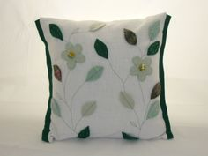 Upcycled felt leaves and flowers appliqué cushion with stitching details