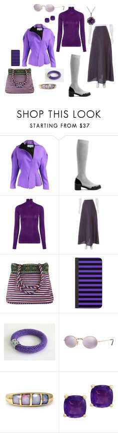 """purple"" by moestesoh ❤ liked on Polyvore featuring Thierry Mugler, MR by Man Repeller, Karen Walker, Carolina Herrera, NOVICA, Casetify, Ray-Ban, Effy Jewelry, LE VIAN and purplepower"