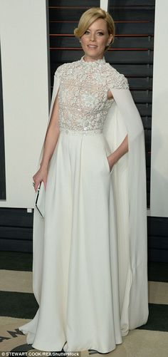 Jessica Alba wears plunging white gown at Vanity Fair's Oscar 2016 bash | Daily Mail Online