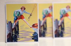 """#3177 Vintage Fishing Boating Pin Up Hot Girl Retro Art 4"""" Decal Sticker - DecalStar.com"""