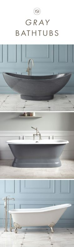After the home renovation, it's time to treat yourself. So why not include one of these elegant Gray Bathtubs from Signature Hardware into the design plans? By adding this five star bathtub to your master bathroom remodel, the space will be as relaxing and stylish as you'd dreamt it to be.