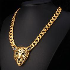 African Statement Necklace 18K Gold /Platinum Plated Lion Head Pendant Big Necklace Women