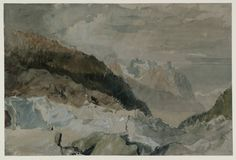 Joseph Mallord William Turner, 'Blair's Hut on the Montenvers' 1802 (J. Turner: Sketchbooks, Drawings and Watercolours) Joseph Mallord William Turner, Watercolor Landscape Paintings, Watercolour Art, Turner Watercolors, English Artists, Mountain Art, Covent Garden, Famous Artists, Art History