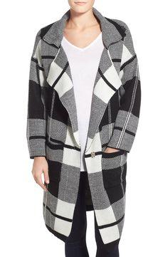 Bobeau Check Notch Collar Sweater Jacket