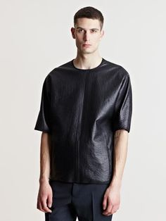 Lanvin Men's Topstitched Leather T-shirt Looks like he's wearing a trash bag!