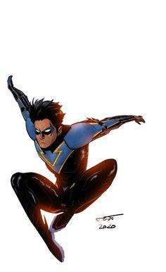 [Artwork] New Take On Nightwing [Kal Huset] - DCcomics Batman Redesign, Dc Comics, Nightwing And Batgirl, Comic Book Publishers, Superhero Design, Deathstroke, Comics Universe, Detective Comics, Dc Heroes