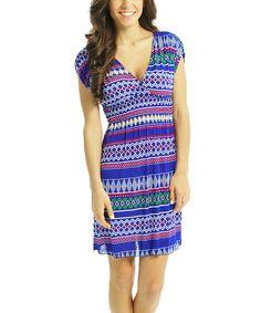 Blue Smocked Tribal V-Neck Dress #zulily #zulilyfinds