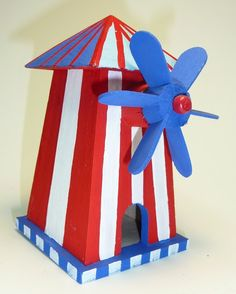 Decorative Patriotic Windmill Birdhouse for indoors or outdoors 6 inch