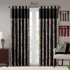 For a luxuriously classic style, our Madison Park Aubrey Window Curtain Pair is the perfect touch to your decor. The window panels are pieced with solid faux silk and beautiful flat piping details in gold, creating an elegant look. Paisley Curtains, Tab Curtains, Black Curtains, Rod Pocket Curtains, Room Darkening Curtains, Curtains Living, Sheer Curtains, Drapery Panels, Window Panels
