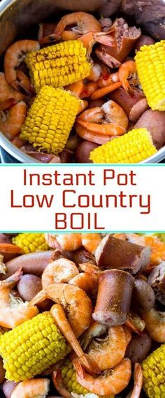 Instant Pot Low Country Boil with potatoes, corn, sausage, and shrimp #instantpot #seafood via @FMSCLiving