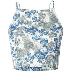 Pilot Floral Print Crop Top (76 BRL) ❤ liked on Polyvore featuring tops, crop tops, camis, shirts, blue, summer crop tops, cami crop top, floral tops, blue crop top and summer shirts