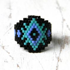 Beaded ring made of Japanese delica seed beads. My original design.  Size - 7.5 (US)  -------More beaded rings from my shop you can see here:-------