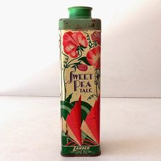 Circa this is a inch tall, talcum powder tin that once held 5 ounces of Lander, Sweet Pea Talc. Vintage Canisters, Vintage Tins, Vintage Labels, Vintage Love, Vintage Floral, Vintage Antiques, Vintage Lettering, Hand Lettering, Tin Art