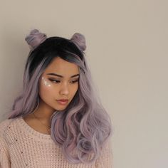 pastel hair and space buns