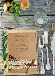 chic lace and burlap rustic wedding invitations