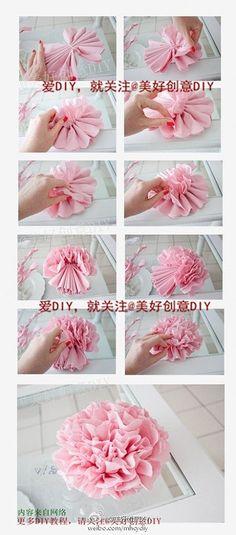 silk paper pompons step-by-step