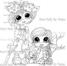 INSTANT DOWNLOAD Digital Digi Stamps Big Eye Big Head Dolls Messy Bessy My Little Sister My Besties By Sherri Baldy