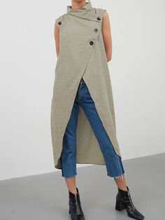 Celmia Women Retro Blouse Asymmetrical Top 2019 Summer Sleeveless Button Down Casual Split Long Shirt Loose Blusas Plus Size Diy Moda, Grey Fashion, Fashion Outfits, Plus Size Casual, Asymmetrical Tops, Plus Size Blouses, Looking For Women, Sleeveless Blouse, Blouses For Women