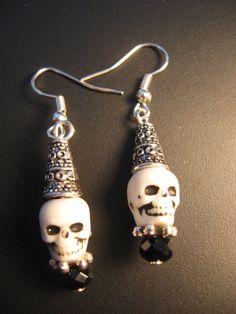 Skull Jewelry  Skull Earrings  Halloween Jewelry by jewelryrow, $8.00