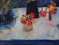 Blue, Black Jug, Nasturtiums - Oil on canvas