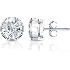 Auriya Platinum 3/4ct TDW Bezel Push-Back Round Diamond Stud Earrings... ($749) ❤ liked on Polyvore featuring jewelry, earrings, white, bezel earrings, diamond stud earrings, sparkly earrings, bezel set earrings and platinum earrings