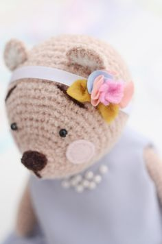 Ready To Ship Teddy Bear Stuffed Animal Crochet Toy Textile Dress Interior Toy 9 Inches Gift For Her by ToToSha on Etsy