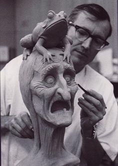 Sculptor and Disney Legend Blaine Gibson creating for the Haunted Mansion