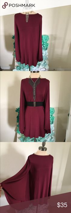 Burgundy Cape Dress Burgundy Cape Dress Dresses Midi