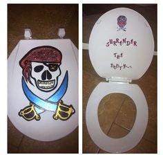 Hand Painted & Designed Toilet Seat For My Pirate Themed Bathroom I'm Decorating!!!!!